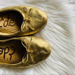 SAM EDLEMAN Felicia gold ballet flats leather 7.5